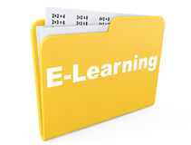E-learning concept. Yellow folder with papers. On a white background Royalty Free Stock Photo