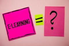E-learning del testo di scrittura di parola Il concetto di affari per istruzione tramite i corsi d'istruzione distanti di web di  Fotografie Stock