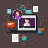 E-learning di apprendimento a distanza di concetto di istruzione di addestramento online di Webinar illustrazione di stock