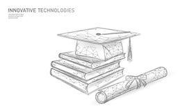 E-learning distant graduate certificate program concept. Low poly 3D render graduation cap, books, diploma polygonal royalty free illustration