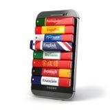 E-learning Dizionario mobile Imparando le lingue online Illustrazione Vettoriale