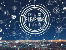 E-Learning with downtown LA Stock Photo