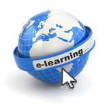E-learning. Earth and mouse cursor on white background. Stock Photo