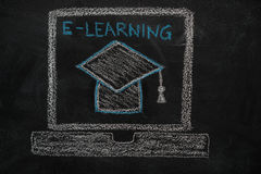 E-learning education icon on black chalkboard. E-learning education icon drawn with chalk on blackboard royalty free stock images
