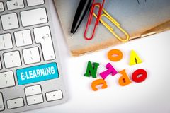 E-learning Education, Internet and Technology Network Concept stock images