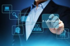 E-learning Education Internet Technology Webinar Online Courses concept.  Royalty Free Stock Images