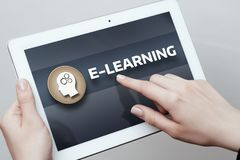 E-learning education internet technology webinar online courses concept.  Stock Photos
