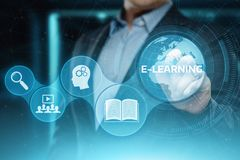 E-learning Education Internet Technology Webinar Online Courses concept.  Royalty Free Stock Photo