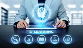 E-learning Education Internet Technology Webinar Online Courses concept.  Royalty Free Stock Image