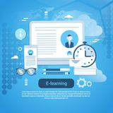E-learning Education Online Concept Web Banner With Copy Space vector illustration