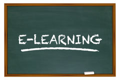 E-learning Education Online Training Chalkboard Word Stock Photo
