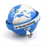 E-Learning. Erde und Mauscursor auf weißem Hintergrund. Stockfoto