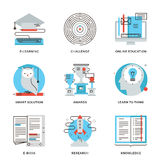 E-learning and find solution line icons set Royalty Free Stock Images