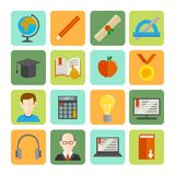 E-learning Flat Icon Set Royalty Free Stock Photo