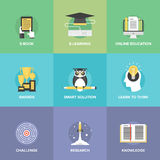 E-learning Flat Icons Set Stock Images