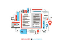 E-learning flat line illustration Royalty Free Stock Images