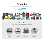 E-Learning flat line web graphics Stock Image