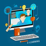 E-learning flat poster Royalty Free Stock Image