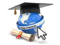 E-learning. Globe, diploma and mortar board. Stock Photos