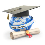 E-learning. Globe, diploma and mortar board. Royalty Free Stock Images