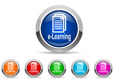 E-learning glossy icons. On white background Stock Images