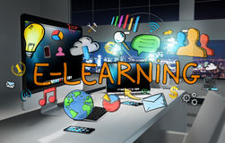 E-learning hand drawn concept in office 3D rendering. Office with modern devices and hand drawn e-learning text 3D rendering Royalty Free Stock Photo
