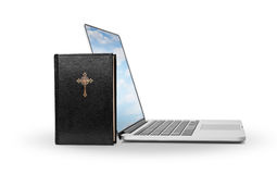 E-learning Holy Bible. Holy Bible and laptop with sky screen Royalty Free Stock Photos