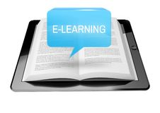 E-learning icon button above ebook reader tablet Stock Image