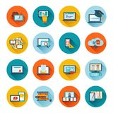 E-learning icon flat. Online education e-learning university webinar student seminar graduation flat icons set vector illustration Stock Photography