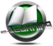 E-Learning Icon. Metallic and green Icon or button with empty book and written e-learning - process of online learning Royalty Free Stock Photos