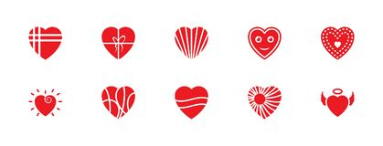 Pack of Hearts Flat Vector Icons royalty free illustration