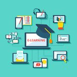 E-learning icons flat Royalty Free Stock Photos