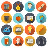 E-learning Icons Flat Royalty Free Stock Images