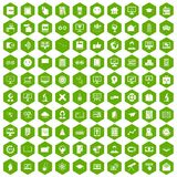 100 e-learning icons hexagon green. 100 e-learning icons set in green hexagon isolated vector illustration stock illustration
