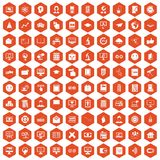 100 e-learning icons hexagon orange. 100 e-learning icons set in orange hexagon isolated vector illustration Stock Images