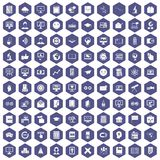 100 e-learning icons hexagon purple. 100 e-learning icons set in purple hexagon isolated vector illustration Stock Illustration
