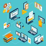 E-learning icons isometric Royalty Free Stock Image