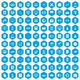 100 e-learning icons set blue. 100 e-learning icons set in blue hexagon isolated vector illustration royalty free illustration