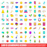 100 e-learning icons set, cartoon style. 100 e-learning icons set in cartoon style for any design vector illustration Stock Images