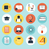 E-Learning Icons. Set of detailed icons about e-learning. Illustration of digital education in modern and clean flat style. Big collection of education icons Stock Photo