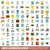 100 e-learning icons set, flat style Stock Images