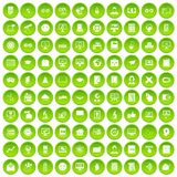 100 e-learning icons set green circle. Isolated on white background vector illustration Stock Images