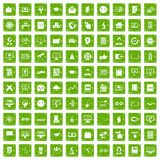 100 e-learning icons set grunge green Stock Images