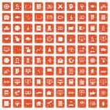 100 e-learning icons set grunge orange. 100 e-learning icons set in grunge style orange color isolated on white background vector illustration Royalty Free Stock Photography