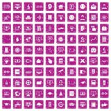 100 e-learning icons set grunge pink. 100 e-learning icons set in grunge style pink color isolated on white background vector illustration Stock Photos
