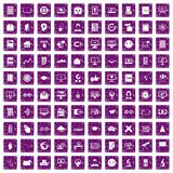 100 e-learning icons set grunge purple. 100 e-learning icons set in grunge style purple color isolated on white background vector illustration Stock Images