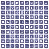 100 e-learning icons set grunge sapphire Royalty Free Stock Image