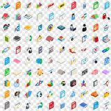 100 e-learning icons set, isometric 3d style Stock Image