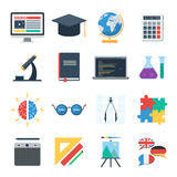 E learning icons set. Online school, E learning. Icons set of web training and study online. Vector icons for distance education for banner, web design or print Royalty Free Stock Images