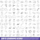 100 e-learning icons set, outline style Royalty Free Stock Photography